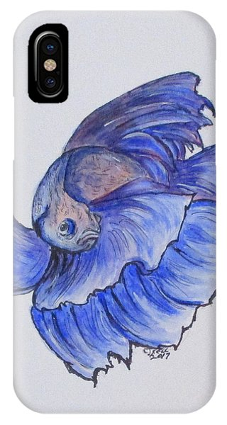IPhone Case featuring the painting Ralphi, Betta Fish by Clyde J Kell
