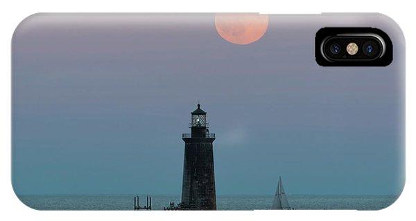 Ram Island Light Buck Moon And Sailboat IPhone Case