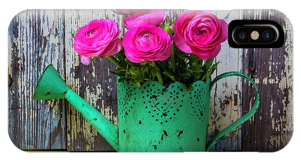 Ranunculus In Green Watering Can IPhone Case