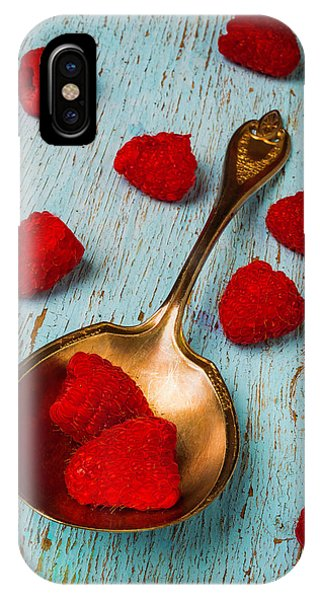 Raspberries With Antique Spoon IPhone Case