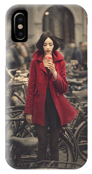 Bicycle iPhone X Case - raspberry sorbet in Amsterdam by Anka Zhuravleva