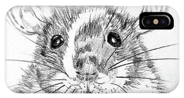 Hamster iPhone Case - Rat Sketch by Susan Paquette