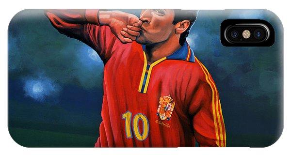 Cristiano Ronaldo iPhone Case - Raul Gonzalez Blanco by Paul Meijering