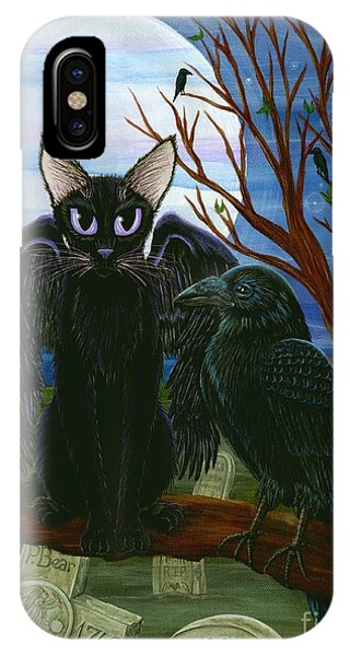 Raven's Moon Black Cat Crow IPhone Case