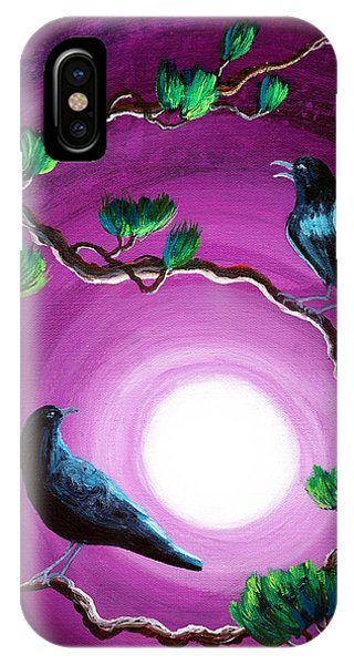 Dark Violet iPhone Case - Ravens On A Summer Night by Laura Iverson