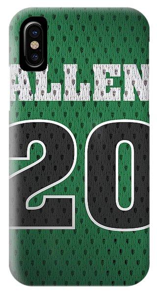 Celtics iPhone Case - Ray Allen Boston Celtics Retro Vintage Jersey Closeup Graphic Design by Design Turnpike
