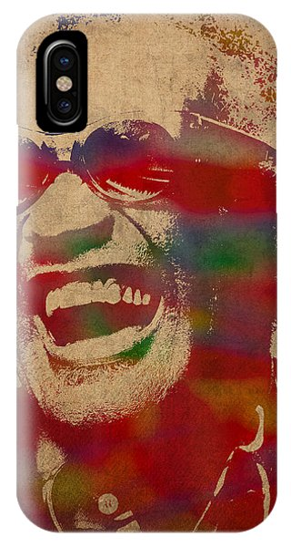 Ray Charles Watercolor Portrait On Worn Distressed Canvas IPhone Case