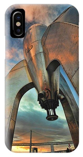 Raygun Gothic Rocketship Blast-off IPhone Case