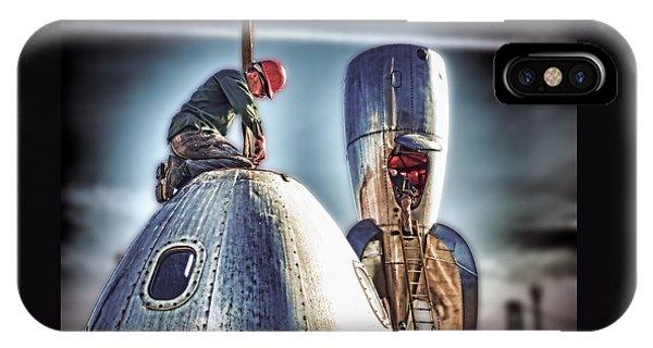 Raygun Gothic Rocketship Safe Landing IPhone Case
