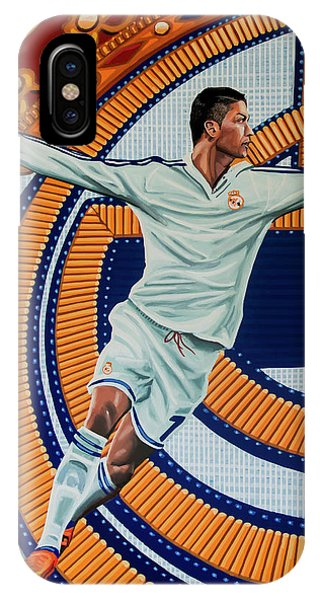 Cristiano Ronaldo iPhone Case - Real Madrid Painting by Paul Meijering