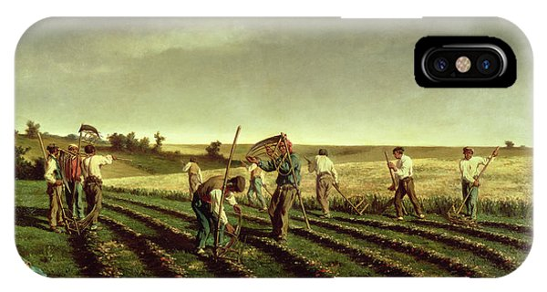 Plowing iPhone Case - Reaping Sainfoin In Chambaudouin by Pierre Edmond Alexandre Hedouin