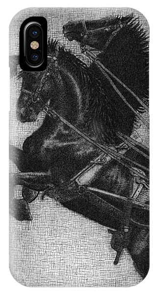White Horse iPhone Case - Rearing Horses by Eric Fan