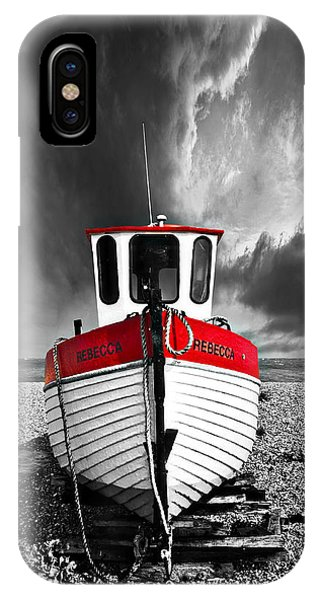 Fishing Boat iPhone Case - Rebecca Wearing Just Red by Meirion Matthias