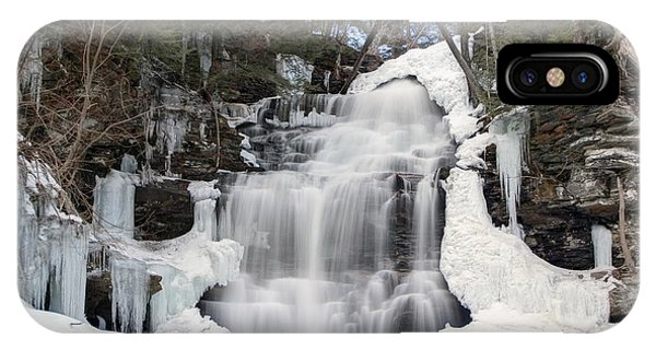 Receding Winter Ice At Ganoga Falls IPhone Case