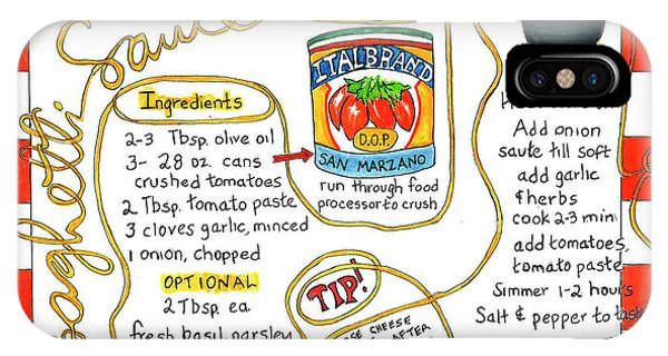 Recipe -spaghetti Sauce  IPhone Case