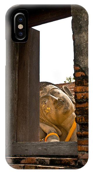 Reclining Buddha View Through A Window IPhone Case