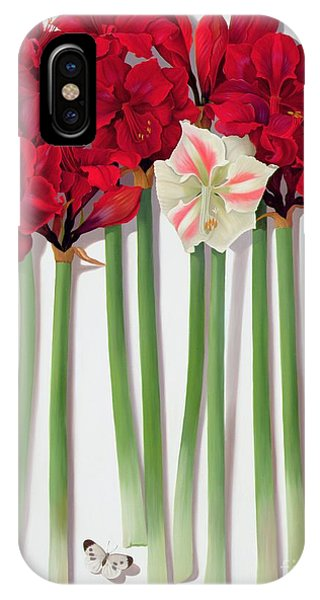 Representation iPhone Case - Red Amaryllis With Butterfly by Lizzie Riches