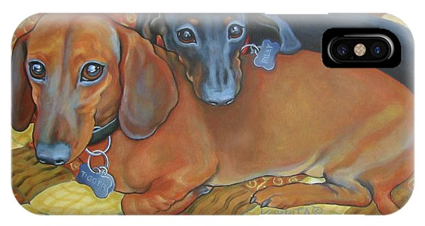 Red And Black Dachshunds - Best Buds IPhone Case
