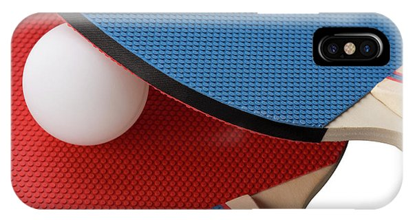 Red And Blue Ping Pong Paddles - Closeup IPhone Case
