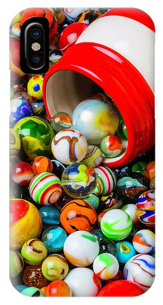 Novelty iPhone Case - Red And White Jar With Marbles by Garry Gay