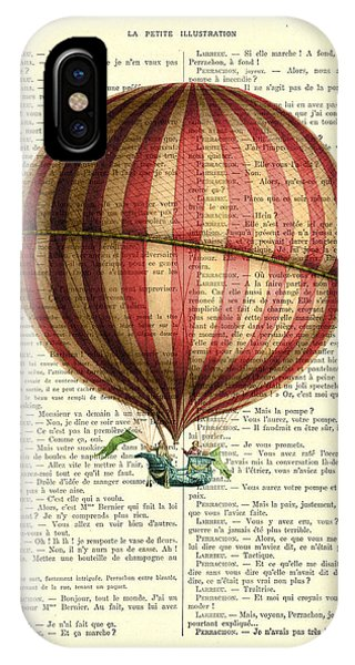 Celebration iPhone Case - Red And White Striped Hot Air Balloon Antique Photo by Madame Memento