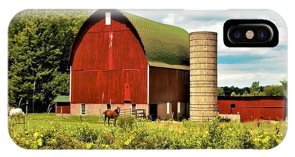 0040 - Red Barn And Horses IPhone Case