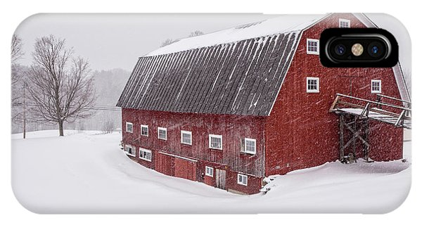 New England Barn iPhone Case - Red Barn Blizzard New Hampshire by Edward Fielding