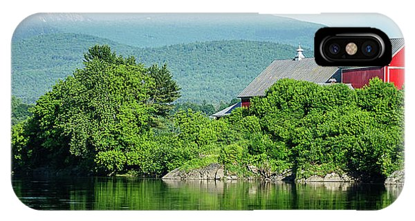 New England Barn iPhone Case - Red Barn Connecticut River Mug by Edward Fielding