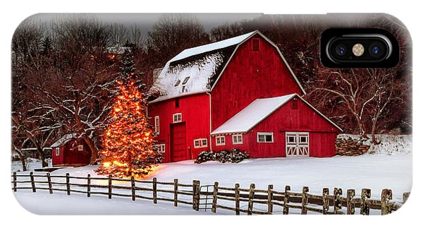 New England Barn iPhone Case - Red Barn Holidays by John Vose