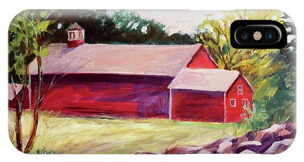 IPhone Case featuring the painting Red Barn I by Priti Lathia