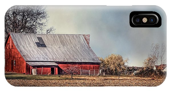 Red Barn In Late Fall IPhone Case