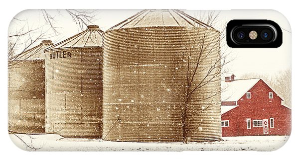 Red Barn In Snow IPhone Case