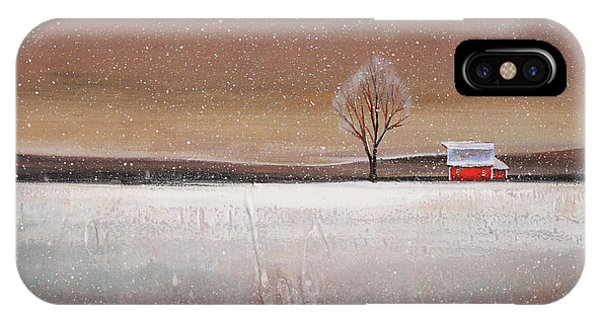 Barn Snow iPhone Case - Red Barn In Snow by Toni Grote