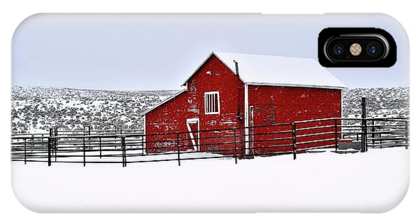 Red Barn In Winter IPhone Case