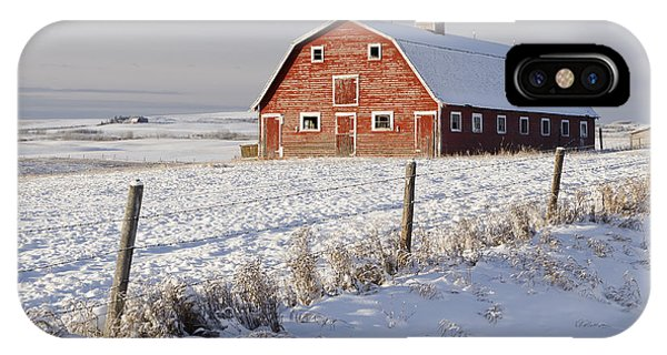 Red Barn In Winter Coat IPhone Case