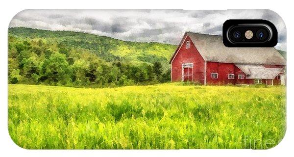 New England Barn iPhone Case - Red Barn Landscape Watercolor by Edward Fielding