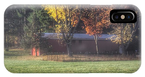 0041 - Red Barn On A Foggy Fall Morning IPhone Case