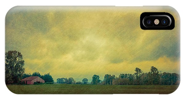 Red Barn Under Stormy Skies IPhone Case