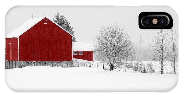 Red Barn Winter Landscape IPhone Case