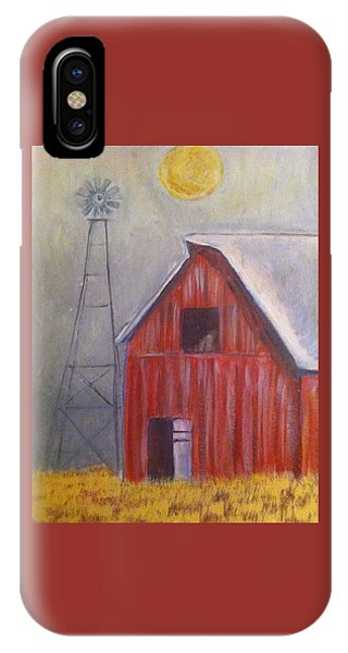 Red Barn With Windmill IPhone Case