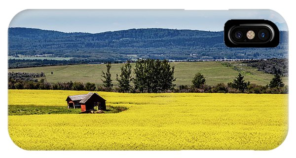Red Barns In A Sea Of Canola IPhone Case
