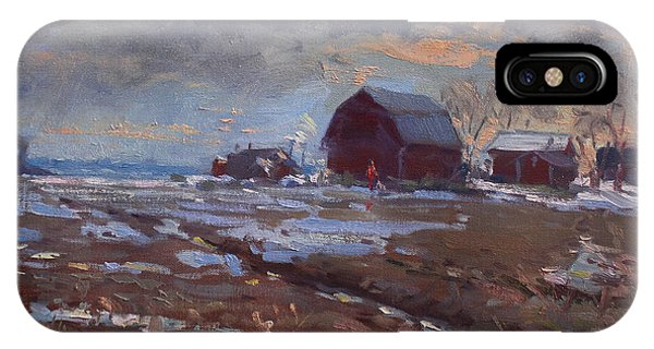 Barn Snow iPhone Case - Red Barns In The Farm by Ylli Haruni