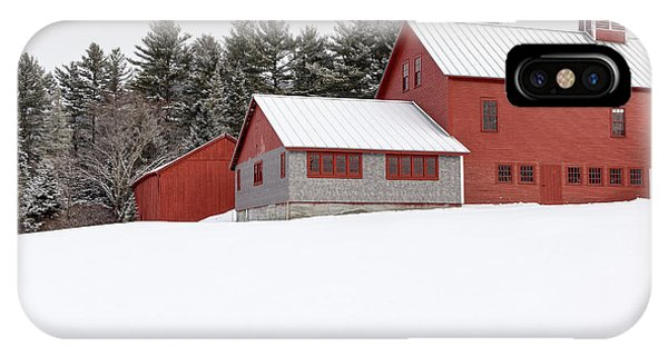 New England Barn iPhone Case - Red Barns In The Snow by Edward Fielding