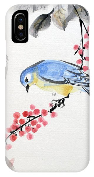 Red Berries Blue Bird IPhone Case