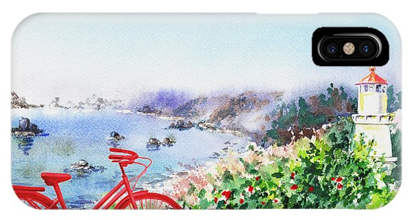 Airy iPhone Case - Red Bicycle At The Shore by Irina Sztukowski