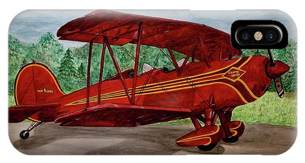iPhone Case - Red Biplane by Megan Cohen