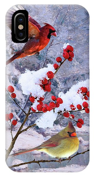 Red Birds Of Christmas IPhone Case