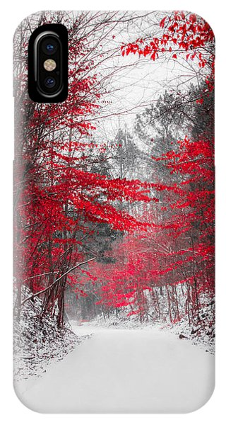 Snowy Road iPhone Case - Red Blossoms  by Parker Cunningham