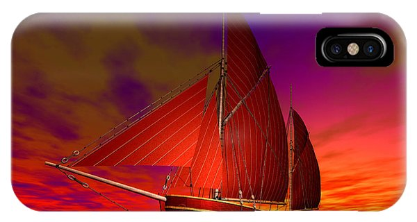 IPhone Case featuring the digital art Red Boat At Sunset by Sandra Bauser Digital Art