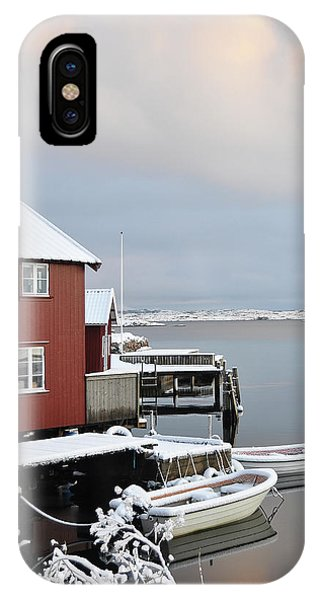 IPhone Case featuring the pyrography Boathouses by Magnus Haellquist
